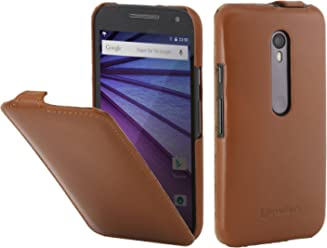 StilGut UltraSlim Case, Custodia in Pelle per Motorola Moto G, Cognac