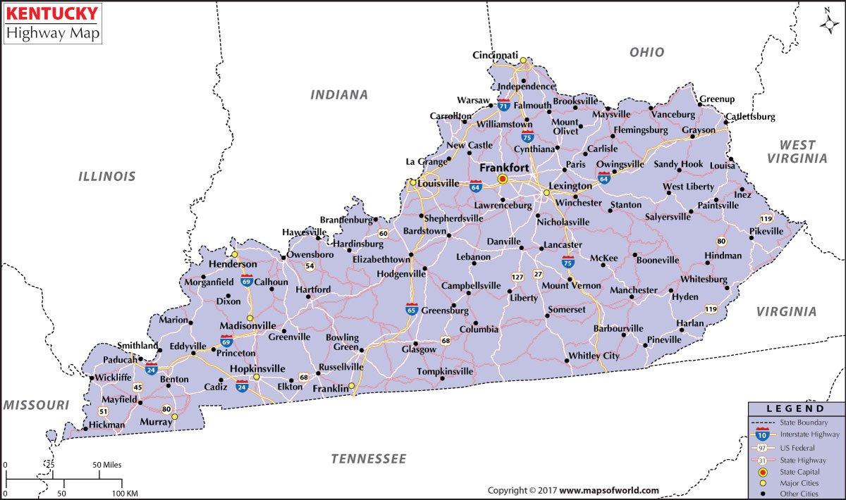 Amazon.com : Kentucky Highway Map - Laminated (36
