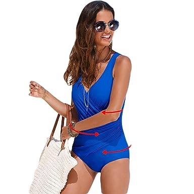 76f1aee3e31f6 Amazon.com: exLDuXSy One Piece Swimsuit Women Plus Size Retro Beachwear  Print Swim Wear: Clothing