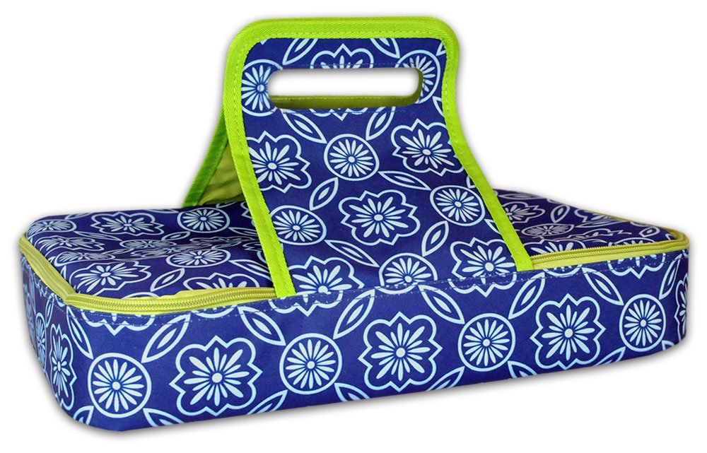 DII Insulated Casserole Carrier, Perfect for Holidays, BBQ's, Potlucks, Parties, To Go Lunches, Craft/Dish Storage & Monogramming - Garden Lattice Blue/White