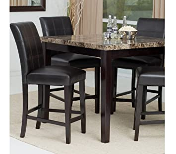 Genial Counter Height Dining Table Set, Contemporary Style Solid Wood With Marble  Tabletop Dining Room