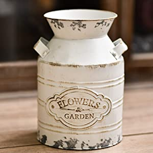 JSY-UP Rustic Metal Flower Vase, Shabby Chic Vintage Farmhouse Jug Vase,Galvanized Milk Can with Handle for Home Decoration