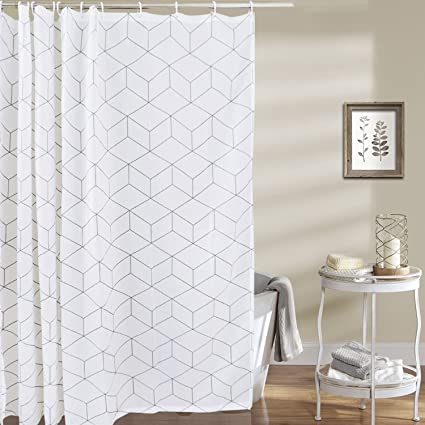 Sunm Boutique Geometric Bathroom Shower Curtain Set Hooks Included Anti Mildew Waterproof Odorless Cube