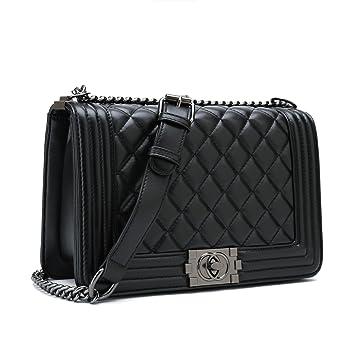 113c779d191db Belle Vannes Damen Designer Gesteppte Schultertasche aus Leder mit Kette Tasche  Umhaengetasche Damentaschen Handtasche Groß Weiß