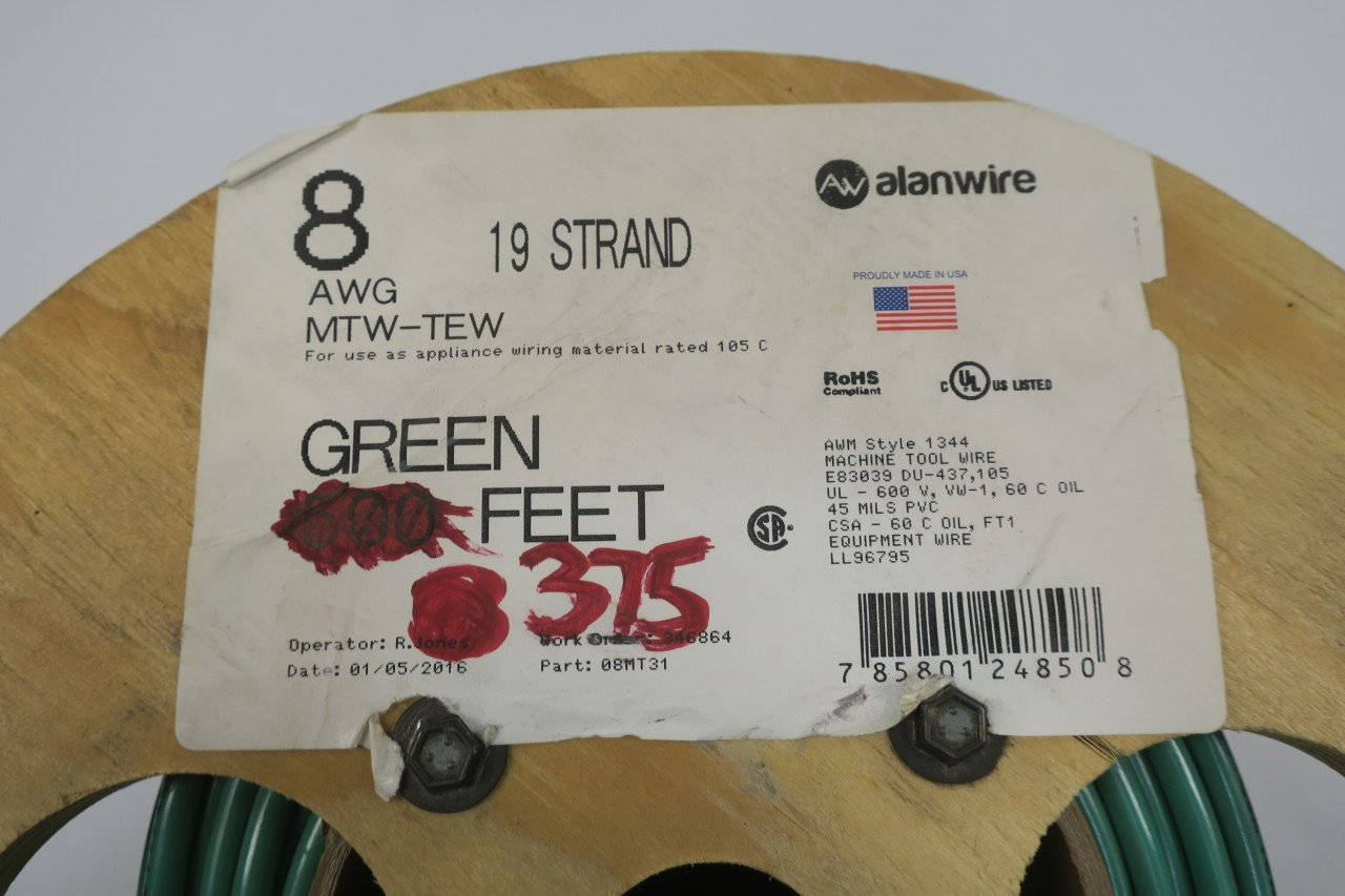 Alanwire 08mt31 Mtw Tew 8 Awg 19 Strand Green Wire 375ft D586894 Appliance Wiring Material Industrial Scientific