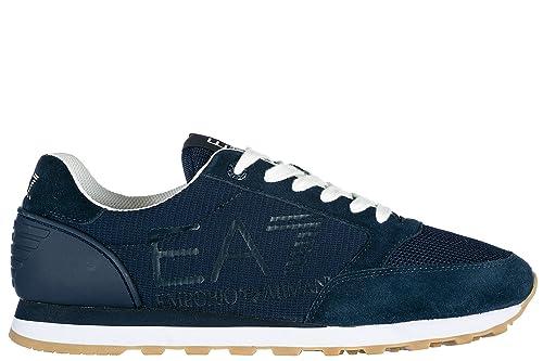 Emporio Armani EA7 Scarpe Sneakers Uomo Camoscio Nuove Heritage Blu EU  43.13 248048 8P299 06935  Amazon.it  Scarpe e borse 5d9b837027d