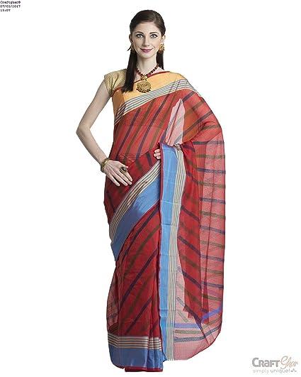22c97957ccb0eb Craftghar Cotton Saree (U-07-065_Multi-Coloured_Free Size): Amazon.in:  Clothing & Accessories