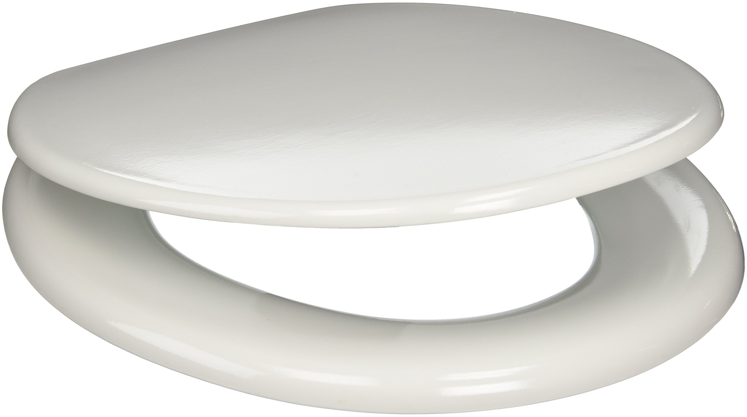 PlumbTech 103-00 Builder Grade Round Toilet Seat with Adjustable Hinge, White