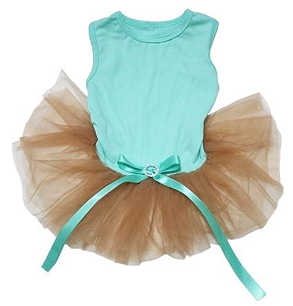 93c4f2cf9 Petitebella Plain Aqua Blue Cotton Shirt Gold Tutu Puppy Dog Dress (Small)