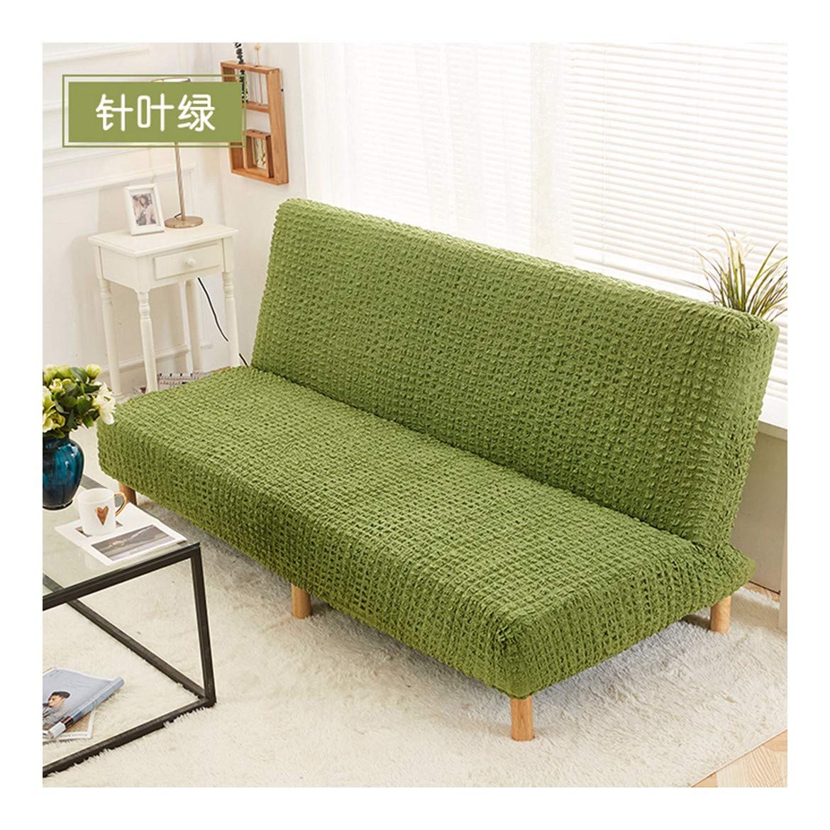 4seat VGUYFUYH Green Folding Sofa Bed Full Package Sofa Cover Polyester Elasticity Home Universal Sofa Cover Simple Fashion One Piece Durable Dust-Proof Pet Dog Predective Cover (160-190Cm),4Seat
