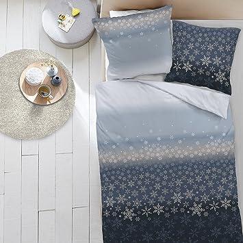 Traumschlaf Feinbiber Bettwäsche Schneeflocken Blau 155x220 Cm