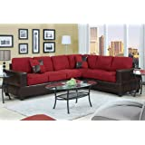 Divano Roma Furniture 2 Piece Classic Large Microfiber and Faux Leather Sectional Sofa with Matching Accent Pillows(Red)