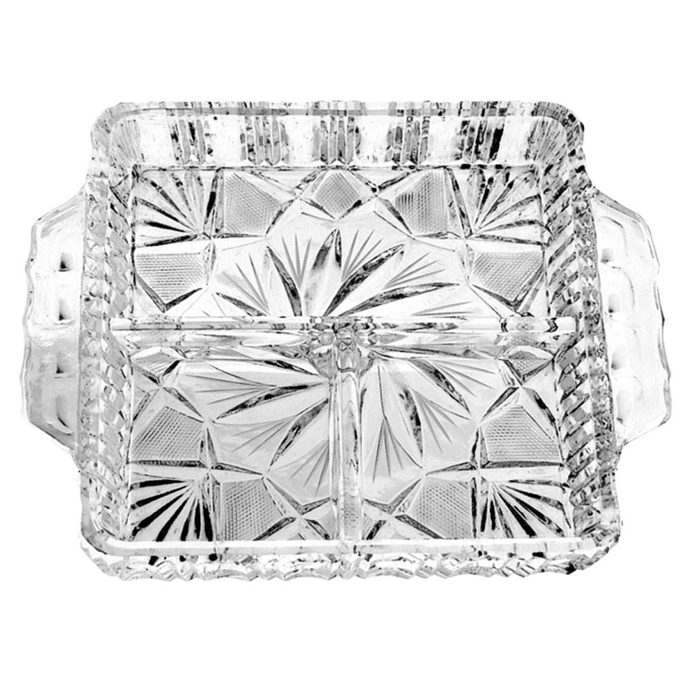 Handcut Crystal Relish Dish, Mouth Blown in a Pinwheel Design, 7 x 8.5 Inch