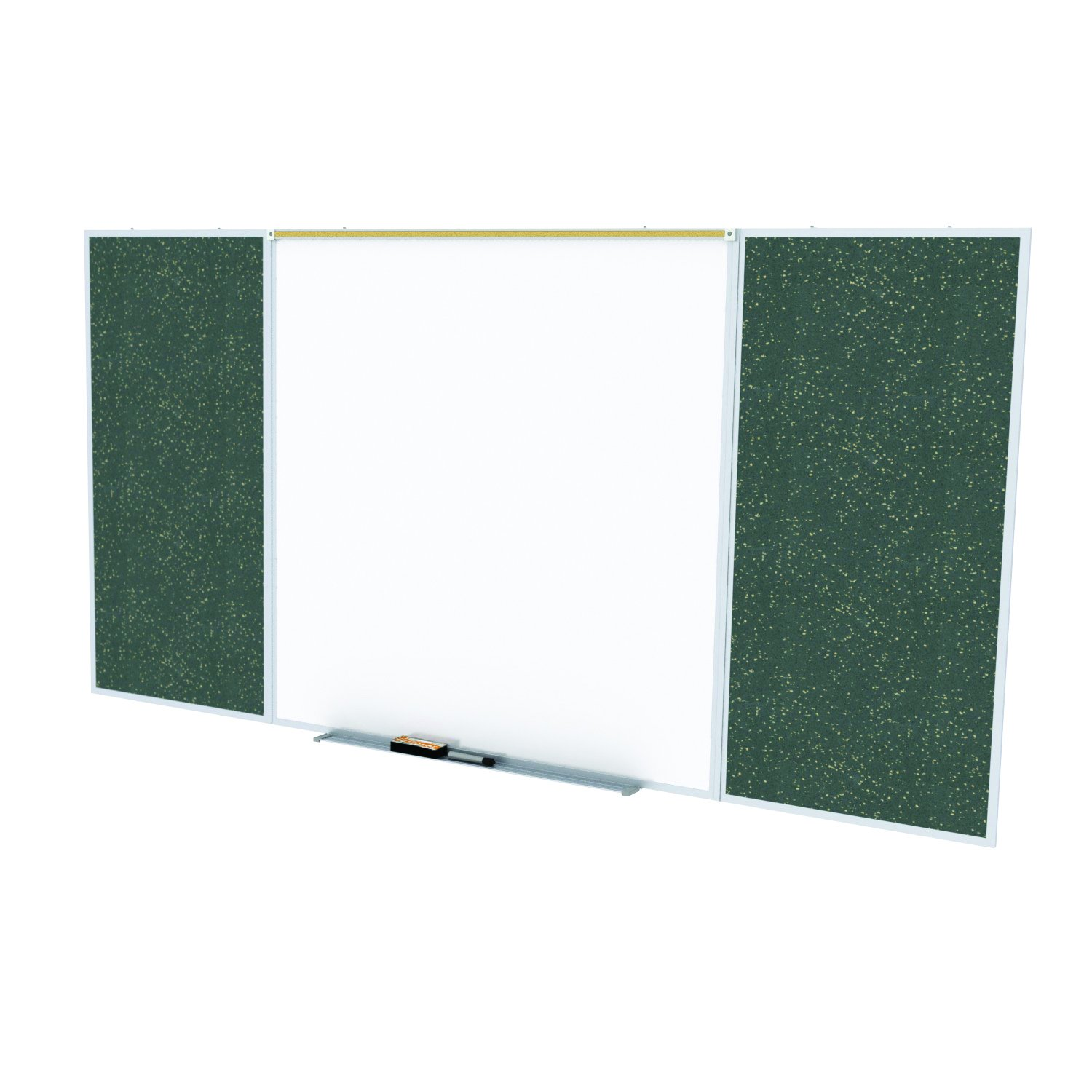 Ghent Style D 4 x 16 Feet Combination Board, Porcelain Magnetic Whiteboard and Recycled Rubber Bulletin Board, Tan Speckled , Made in the USA