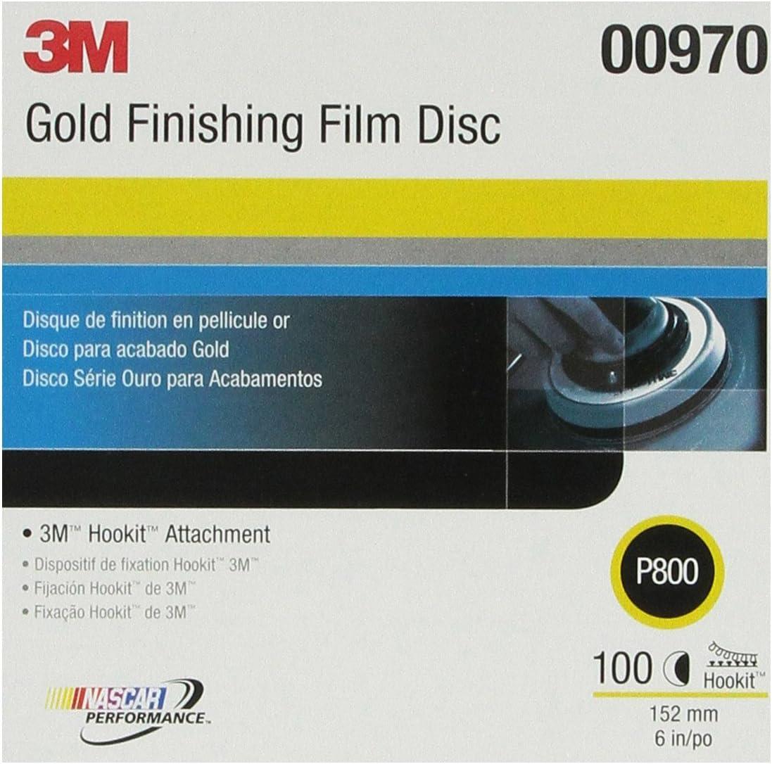 3M Hookit Finishing Film Abrasive Disc 260L, 00970, 6 in, P800, 100 discs per carton