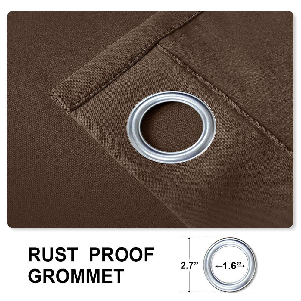 cololeaf Windproof Outdoor Curtain with Top and Bottom Grommet,Water Resistant for Patio Cabana Porch Gazebo Panel Drapery,Chocolate 84W x 84L Inch (1 Panel)