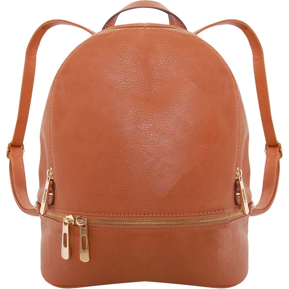 Humble Chic Vegan Leather Backpack Purse Small Fashion Travel School Bag Bookbag, Saddle Brown, Camel, Tan, Cognac, Walnut by Humble Chic NY