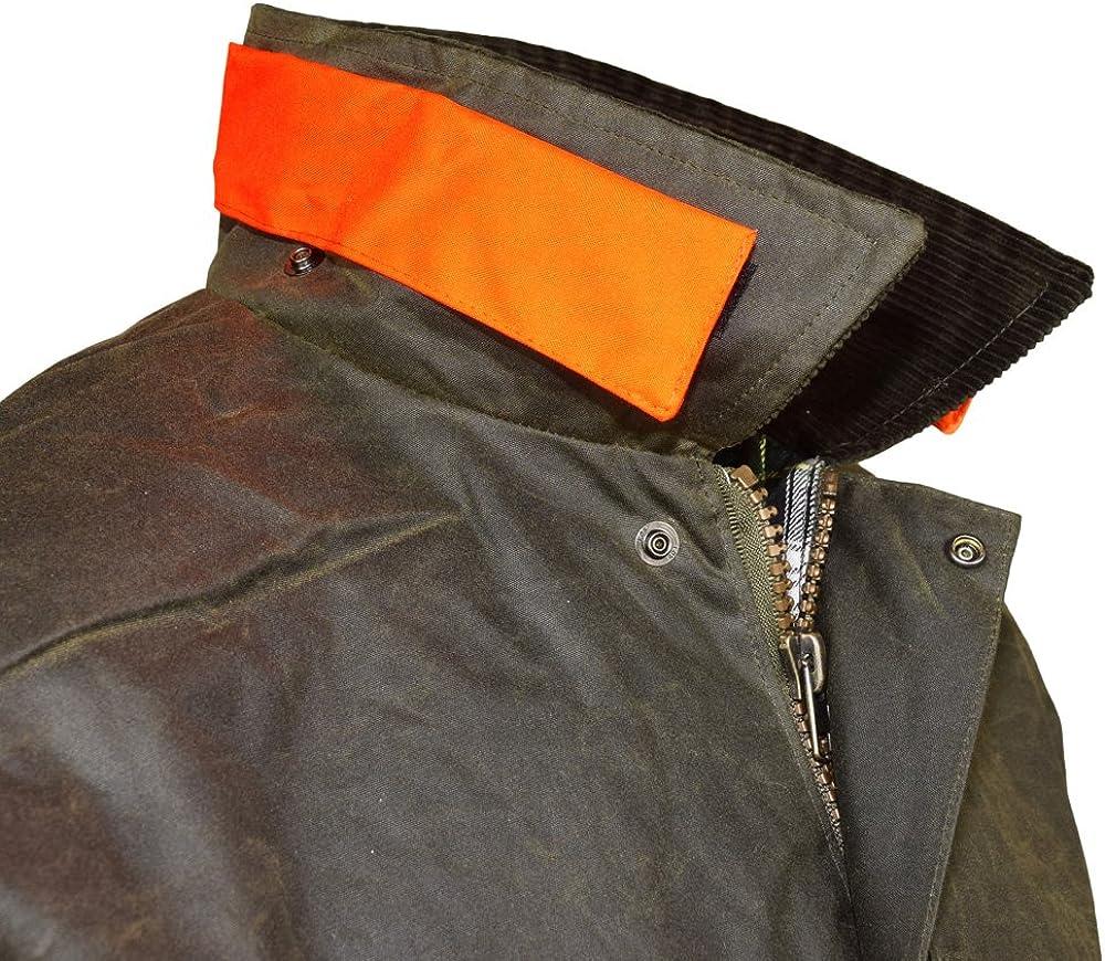 Wachsjacke New England Jager Inklusive Kapuze F/ür J/äger mit Hasentasche und Signalstreifen Robuste Wind- und wasserdichte Regenjacke