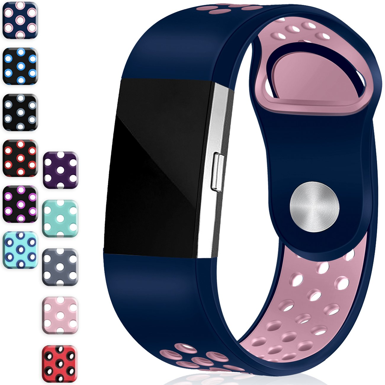 Wepro Fitbit Charge 2バンド、交換用for Fitbit Charge HR、バックル、15色、S、L 2 Large|#11-Blue Pink ( with air holes ) #11-Blue Pink ( with air holes ) Large B078W25MVC