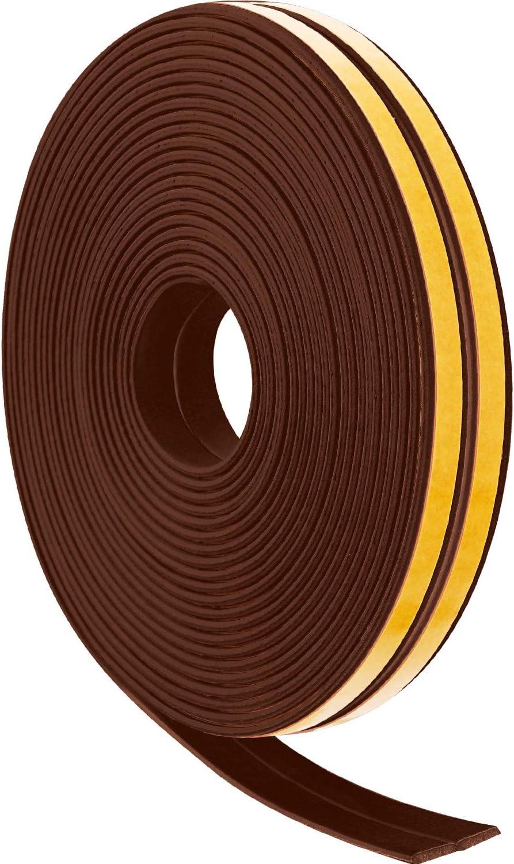 12 m Tiras de Cinta de Espuma Tiras de Sellado Excluidor de Proyecto de Ventana de Puerta Cinta de EPDM Burletes Autoadhesivo (Marrón)