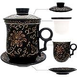 hollihi Porzellan Teetasse mit Deckel und Untertasse-Ei Sets–Chinesischer Jingdezhen Keramik Kaffee Tasse Teetasse Loose Leaf Tea Brewing System für Home Office