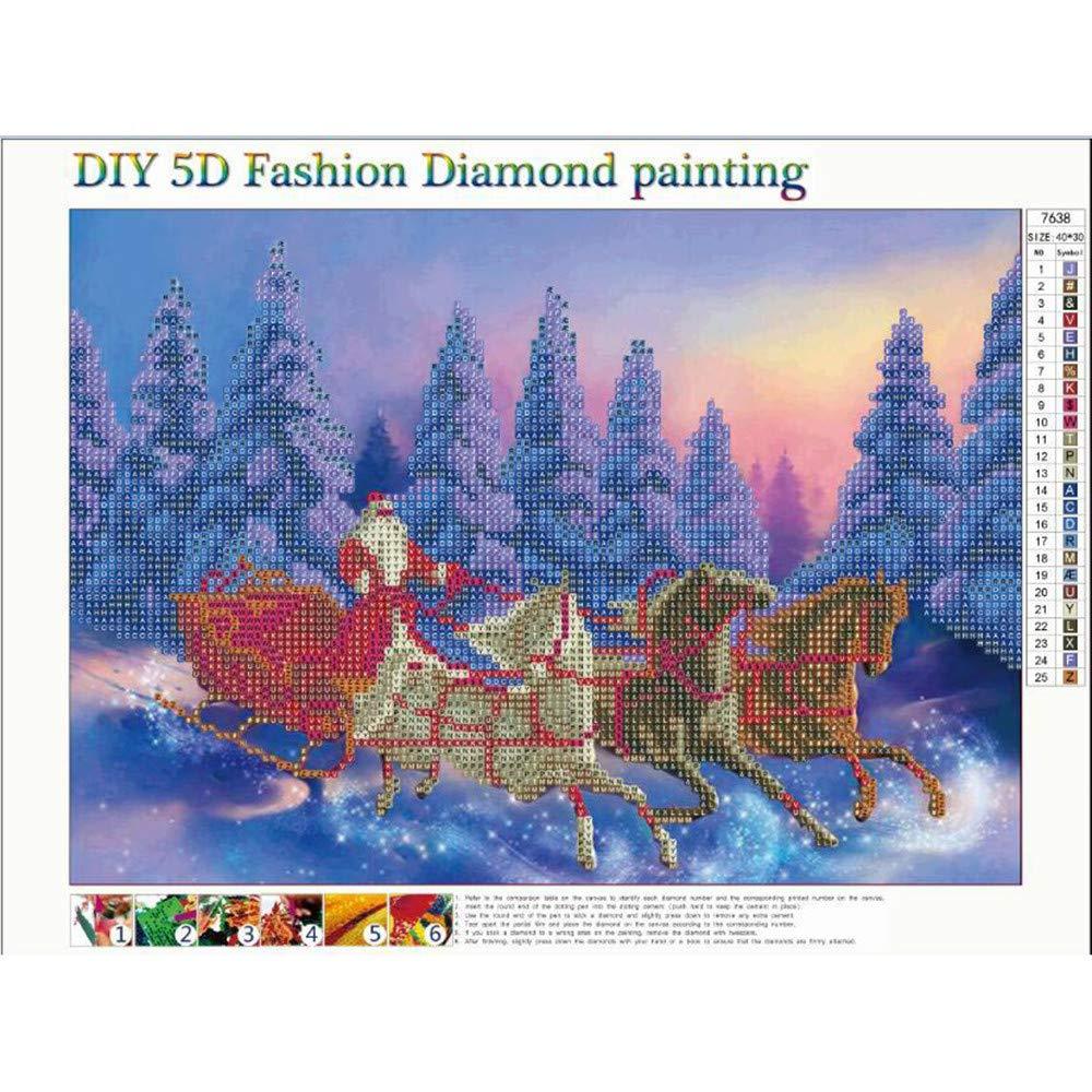 FANOUD Pintura de Diamante 5D Bordado Pintura Rhinestone Natural ecológico, Navidad de Nieve, árbol de Navidad, Pegado DIY Pintura de Punto de Cruz ...