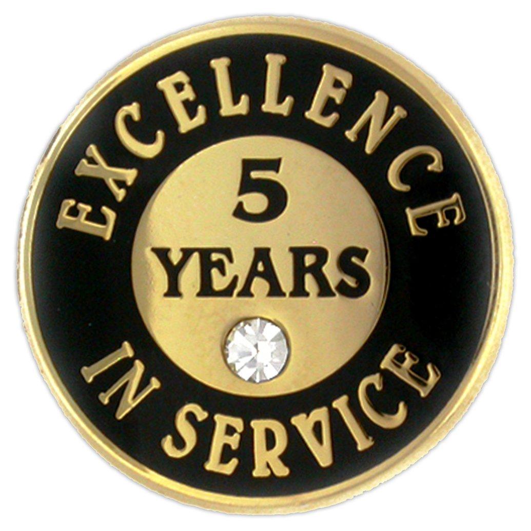 PinMart's Excellence in Service Enamel Lapel Pin w/ Rhinestone - 5 Years