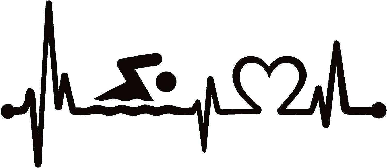 "Swimmer Heartbeat Lifeline - Vinyl - 6"" (Color: Black) Decal Laptop Tablet Skateboard car Windows Stickers"