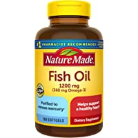 Nature Made Fish Oil 1200mg, 100 Softgels, Fish Oil Omega 3 Supplement For Heart Health