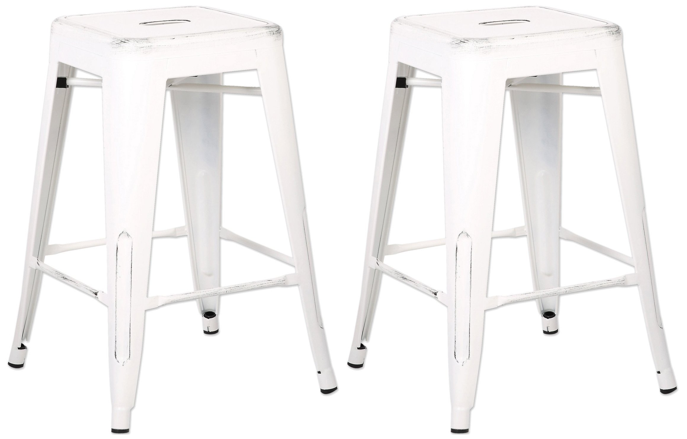 AC Pacific Modern Backless Light Weight Industrial Metal Barstool 4 Leg Design, 24'' Seat Bar Stools (Set of 2), Distressed White Finish