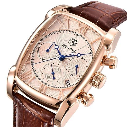 Benyar - Reloj de pulsera para hombre, analógico, resistente al agua, cronógrafo, cuarzo, rectangular, con correa de piel, diseño vintage: Amazon.es: ...