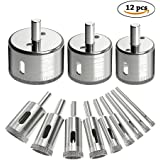12Pcs Diamond Drill Bits Dr.meter Glass and Tile Hollow Core Drill Bits Extractor Remover Tools Hole Saws for glass, ceramics, porcelain, ceramic tile