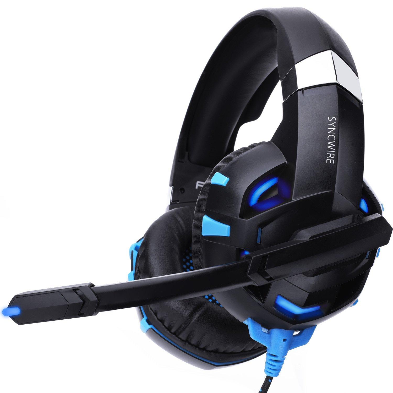 Syncwire Auriculares Gaming Cascos Gaming - Reducción del Ruido Auriculares para Juegos con Micrófono y luz LED, para PS4, PC, Xbox One, Nintendo Switch, Tablet, Teléfonos