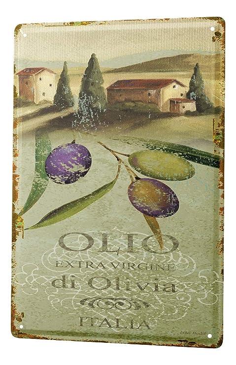 Amazon.com: Cartel de chapa plantas decoración azul oliva ...
