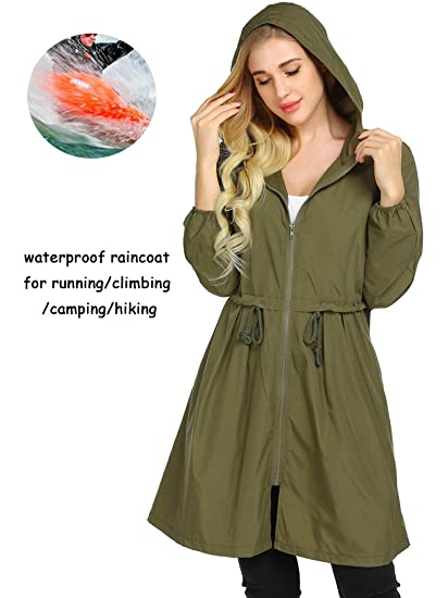 Image Unavailable. Image not available for. Color  Mofavor Women s Hooded  Long Sleeve Lightweight Waterproof Rain Jacket Raincoat 94c4ff0e9df2