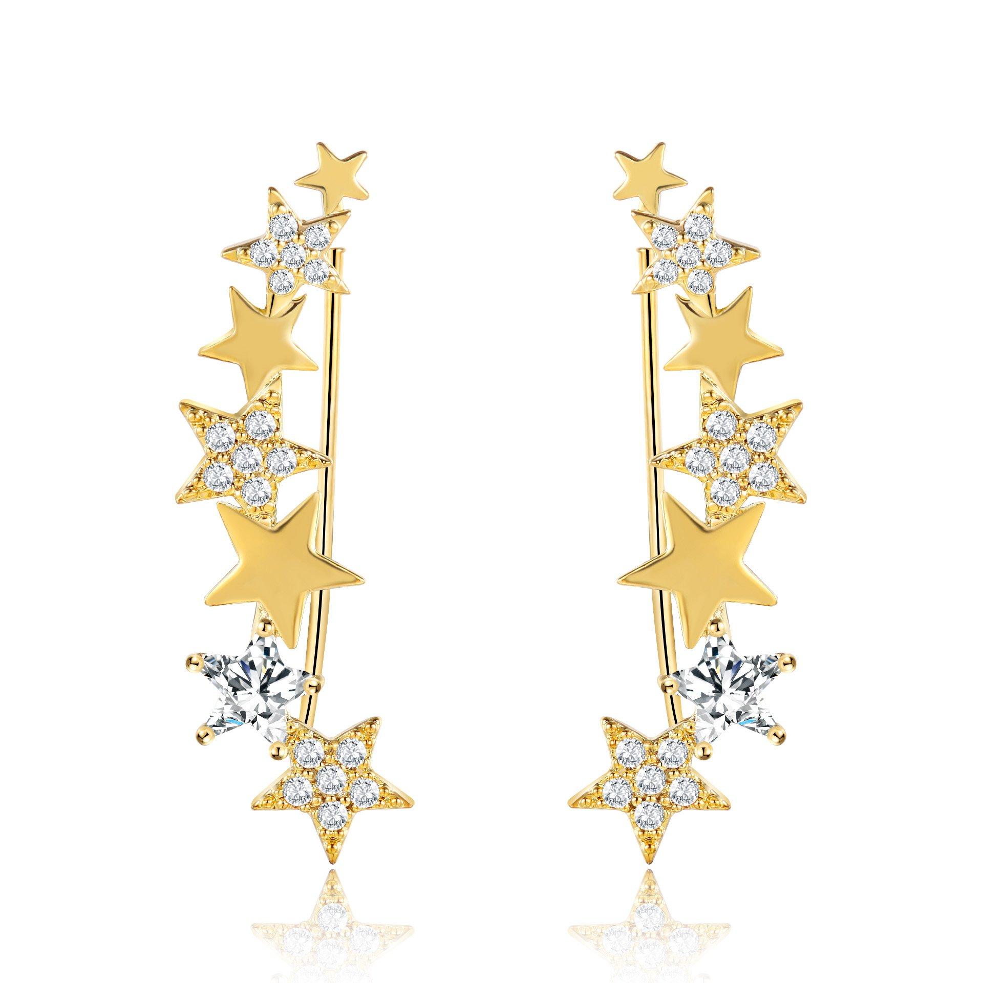 Mevecco Womens Girls Ear Crawler Climber Star CZ Crystal Ear Wrap Cuffs Earrings Sweep Stud Earring Pin Jewelry-Star4-GD