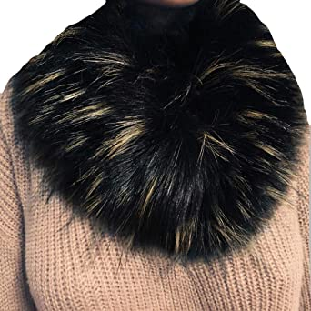 LDFWAY Faux Fur Collar Scarf Hood Collar Shawl Stole Neck Warmer for Winter Coat