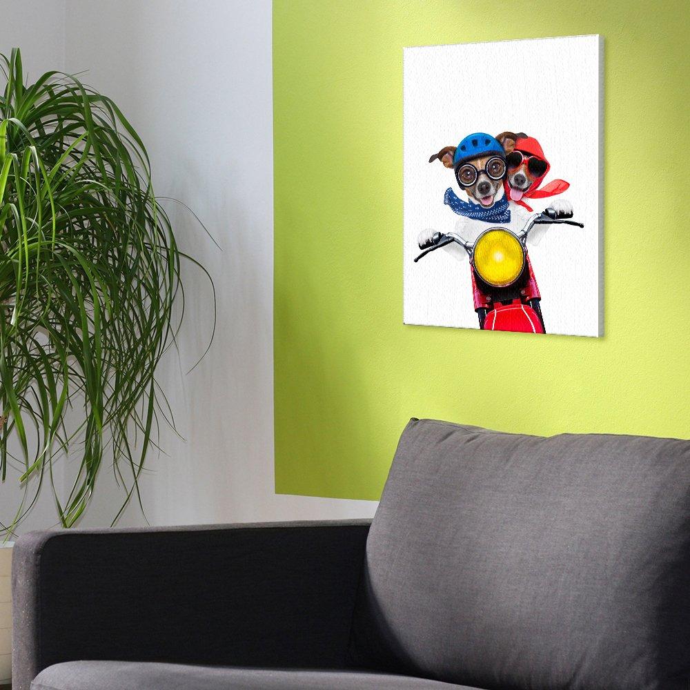 Amazon.com: Canvas Wall Art Cool Moto Dogs Frameless Art Decor 9.8 ...