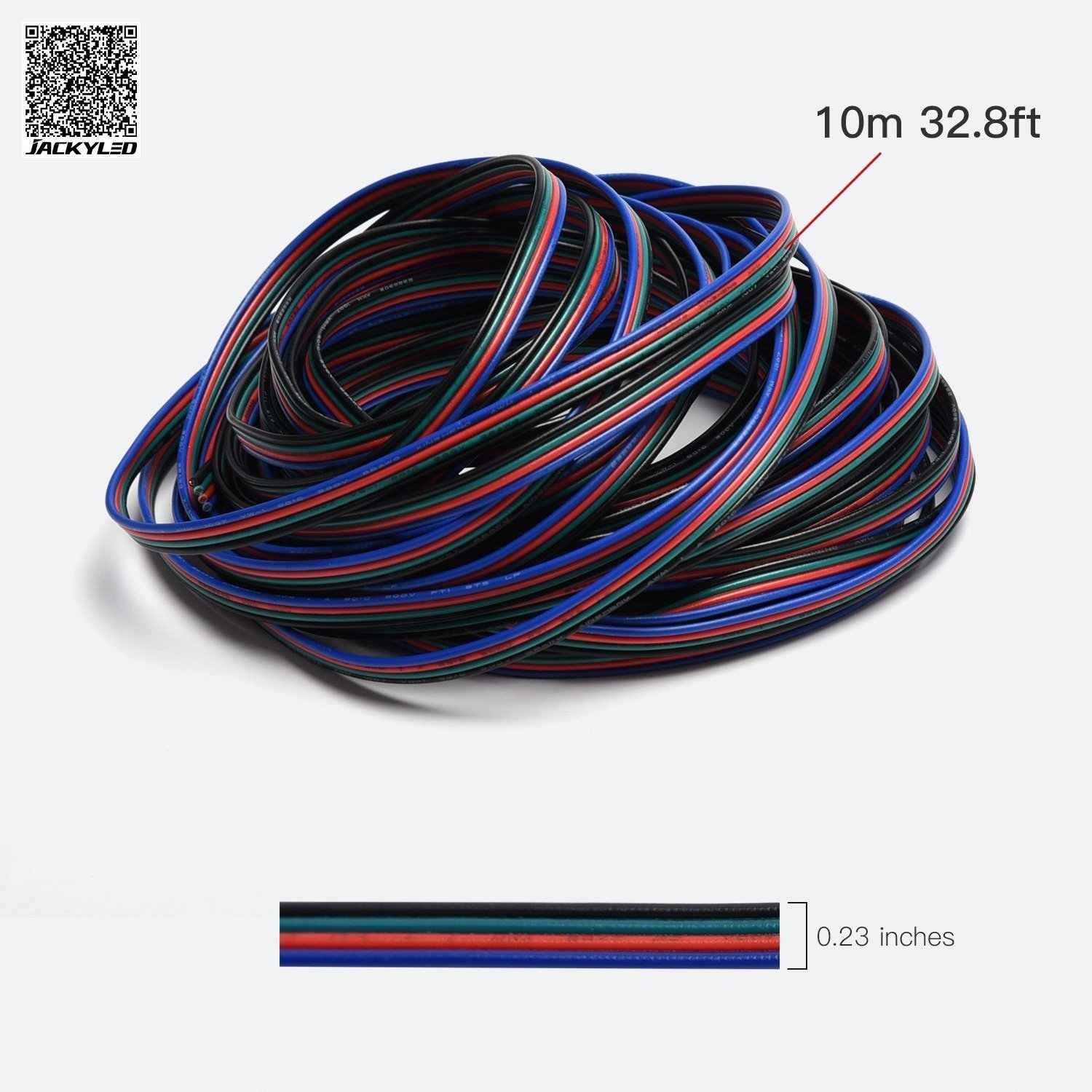 JACKYLED RGB Cable 4 pins Extension Cord Cable for 5050 3528 LED Light Strip 10m 32.8ft LED Splitter connectors kit 4 Color