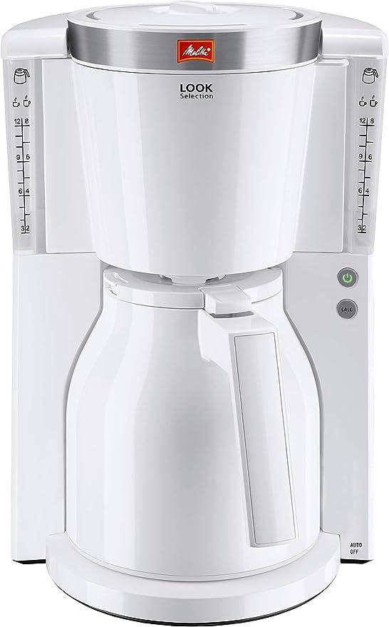 Melitta Look Therm Selection 1011-11, Cafetera de Goteo, Sistema antigoteo, Selección de Aroma, 1000 W, Blanco, 1.2 litros, Plástico: Amazon.es: Hogar