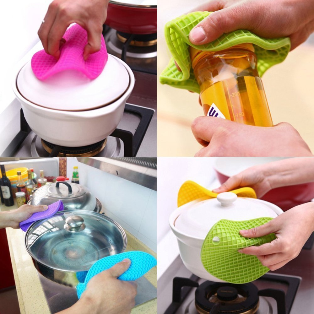 Hot Pads Non-Slip Silicone Insulation Mat for Home Use LIHIRONER 041811 5pcs Extra Thick Silicone Trivet Mat 5 Colors Multicolored