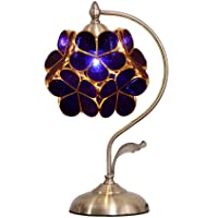 Bieye L10750 Flower Petal Tiffany Style Stained Glass Table Lamp with Petal Lampshade...