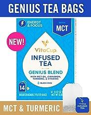 VitaCup Genius Blend Infused Tea 14 ct |Keto|Paleo|Whole 30| Chai Black Tea with MCT, Cinnamon, Turmeric & Vitamins Helps Boo