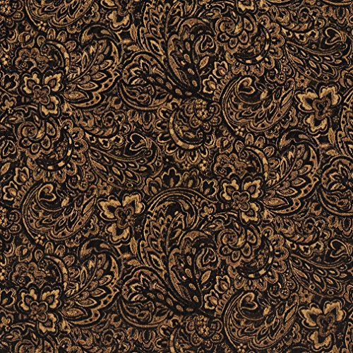 - Onyx Black and Gold Large Floral Chenille Upholstery Fabric by the yard