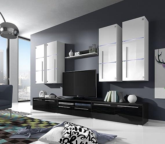 Wohnwand B Schwarz+ Weiß Hochglanz✓ Glastüren ✓ Edel ✓ LED ...