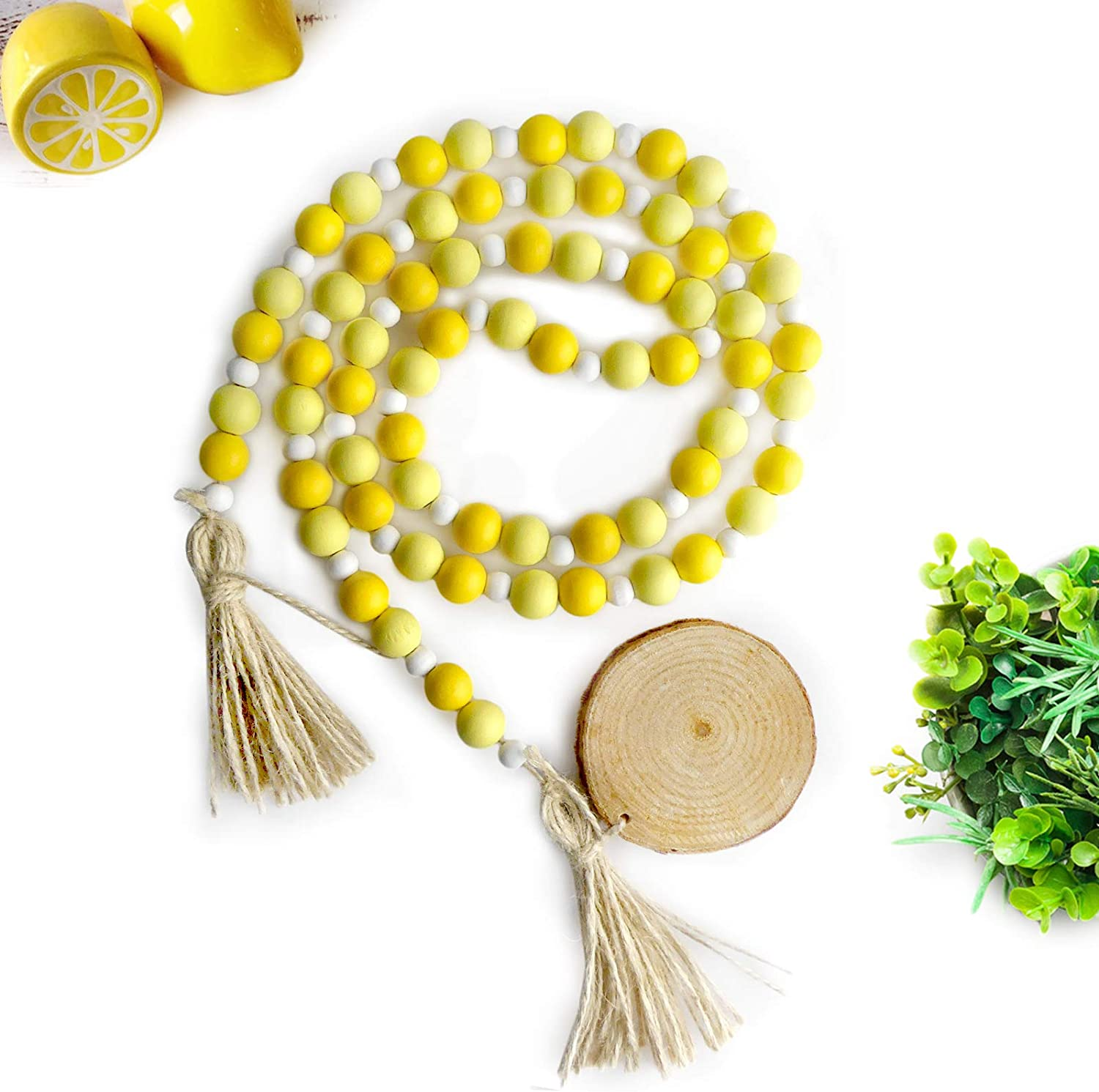 EKOI 58in Lemon Yellow Rustic Wood Bead Garland Wooden Beaded Hanging Tassel Holiday Decor Country Farmhouse Style Summer Spring Lemonade Accents Themed Tiered Tray Home Coffee Table Wall