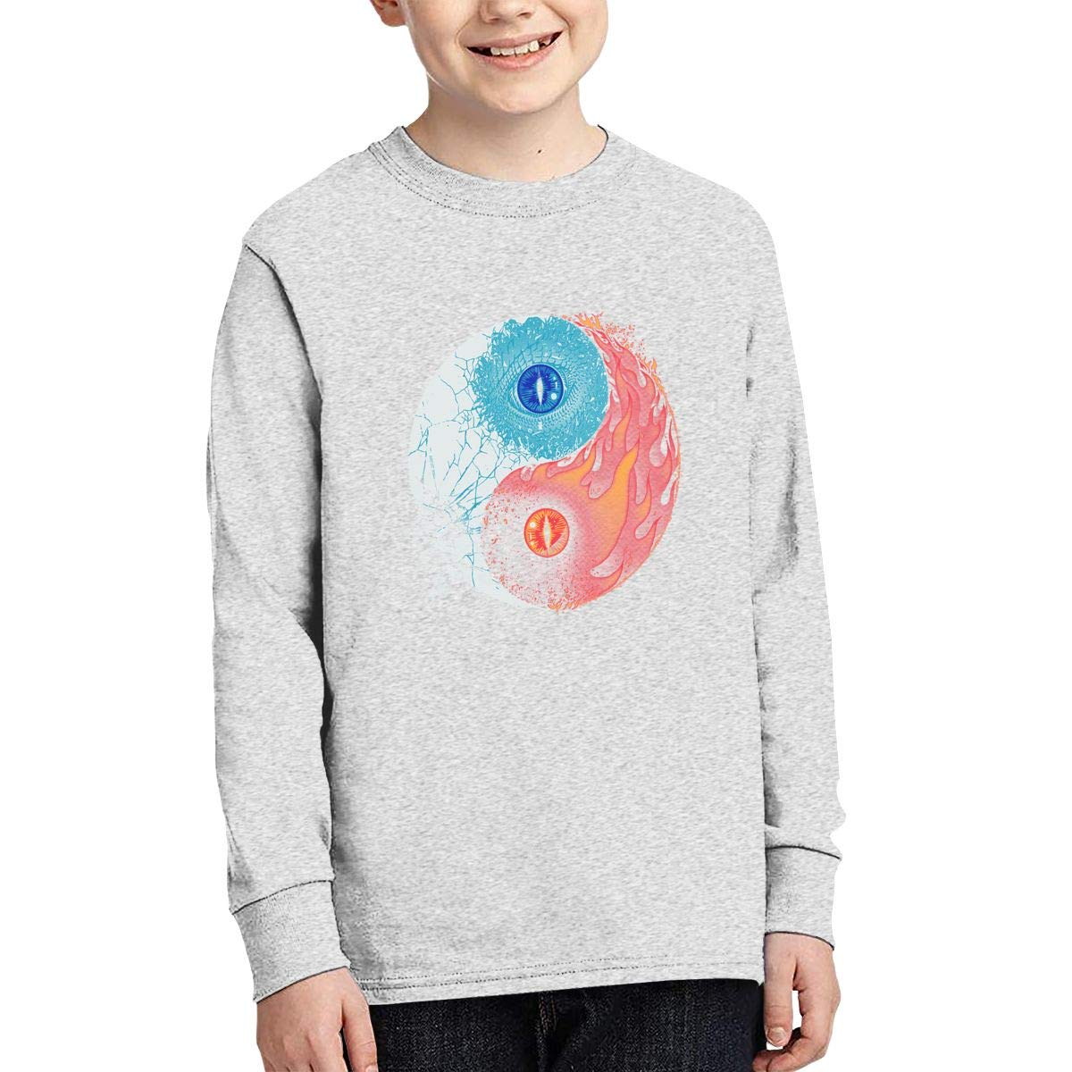 Ice and Fire Boys Long Sleeve T-Shirt,Fashion Youth Tops