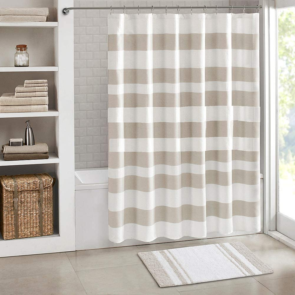 Jasion Shower Curtain Set Taupe Tan Cream Stripes Waterproof Fabric Bathroom Curtains Home Bath Decor with 12 Hooks 72 X 72 Inches