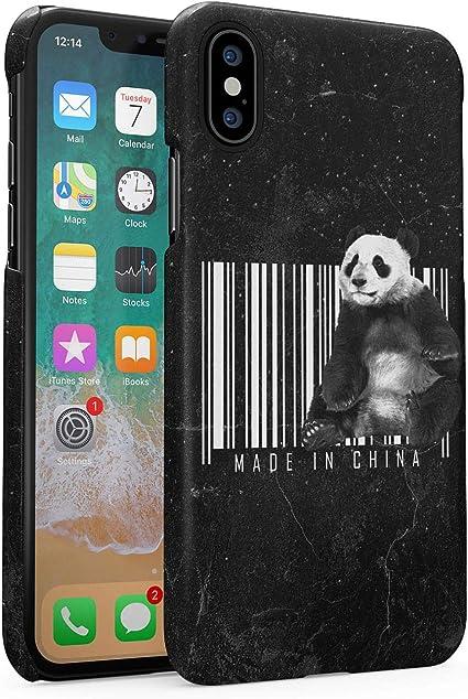 Custodia in Plastica Rigida per iPhone X/XS Made in China Cute Crazy Panda Funny Quote Sarcastic Marble Galaxy Stars Universe Cover Protettiva Sottile ...