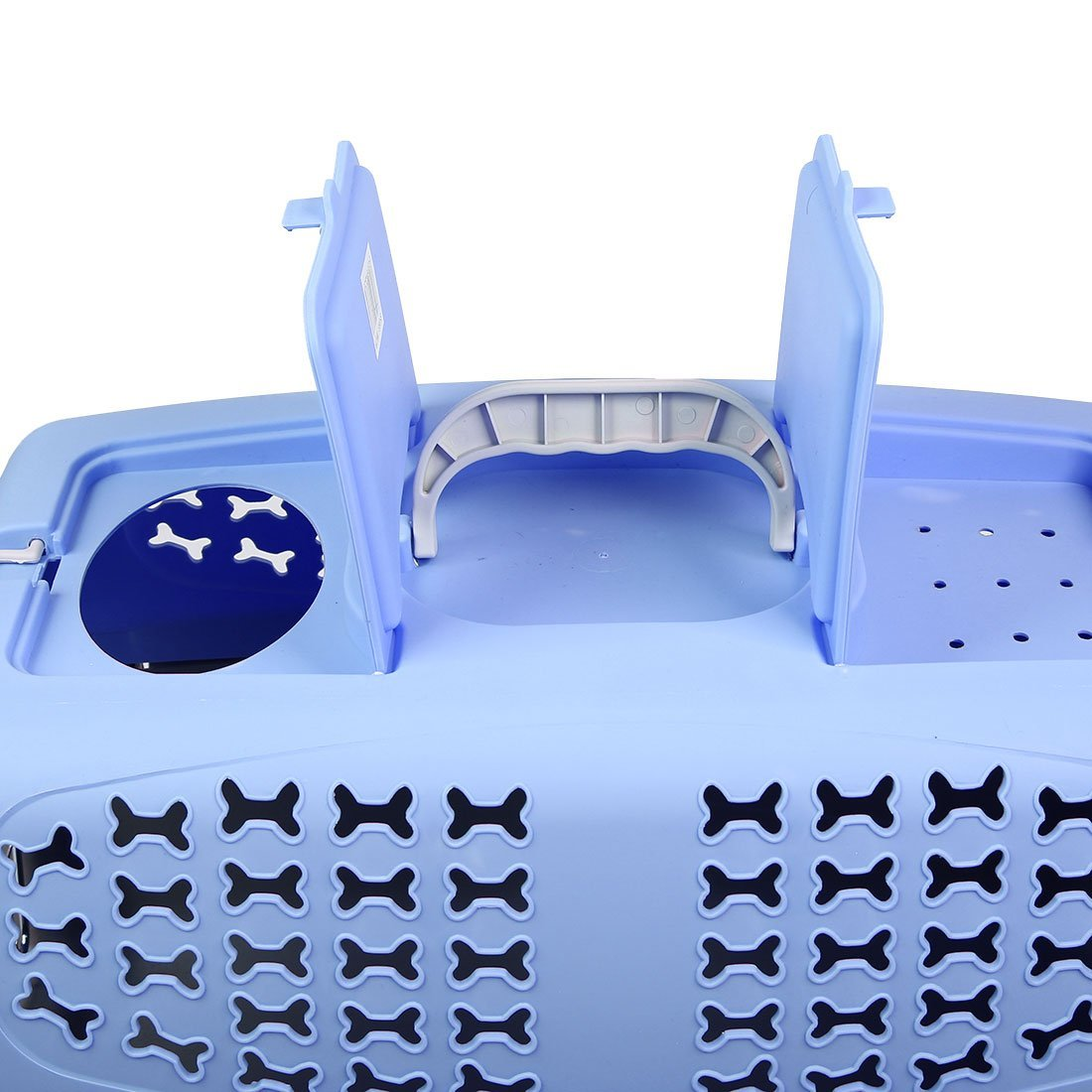 DealMux Plastic Outdoors Travel Meshy Transport Cages Airways Box Pet Carrier 59x38x38cm Blue